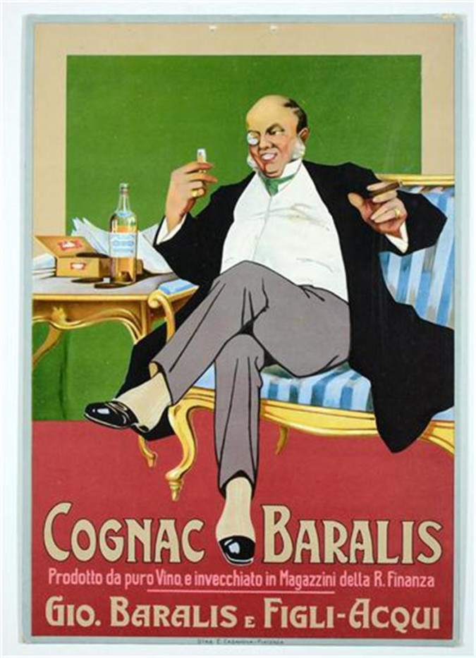 Original Italian Advertisement Vintage ANTIQUE Poster  for Cognac Baralis 1905