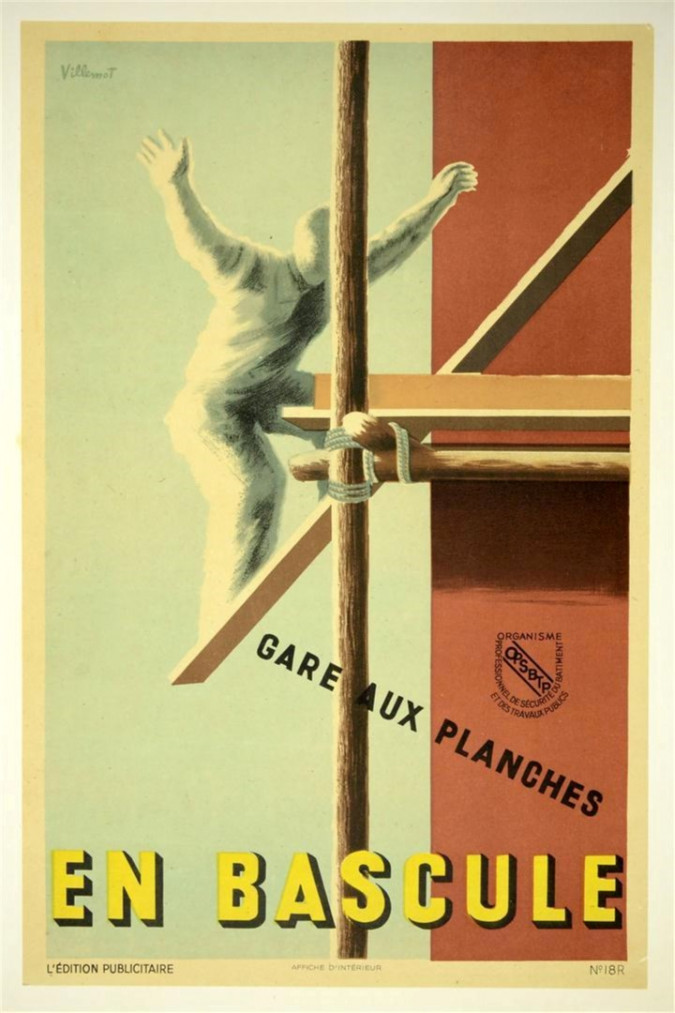 "Original Vintage French Poster ""EN BASCULE"" Awareness by Villemot 1940's"