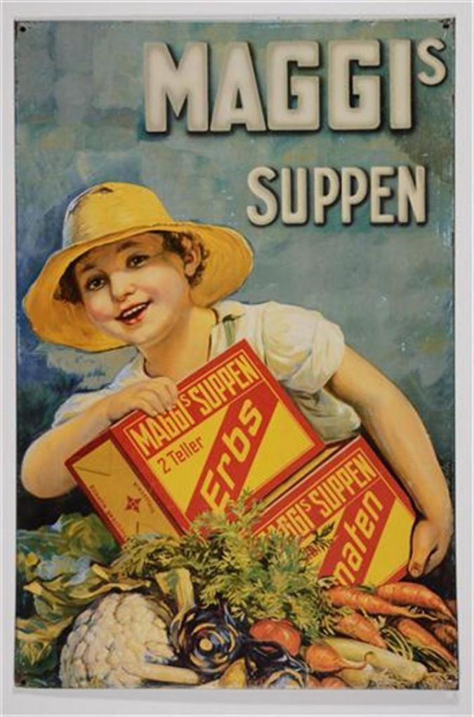 Vintage Old German MAGGI SUPPEN Soup - Hanging Tin Ad