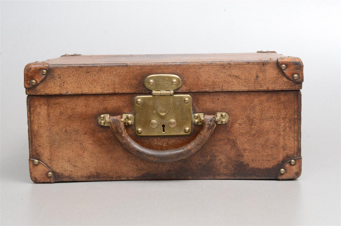 Original Numbered Vintage LOUIS VUITTON Leather and Brass Small Trunk Suitcase