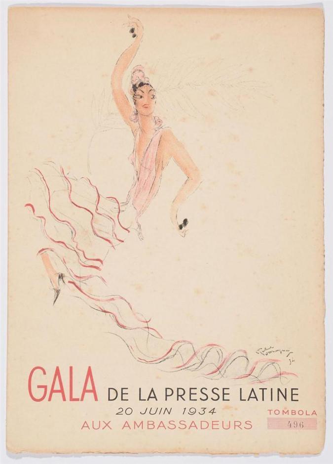 Original Jean-Gabriel Domergue - GALA DE LA PRESSE LATINE AUX AMBASSADEURS
