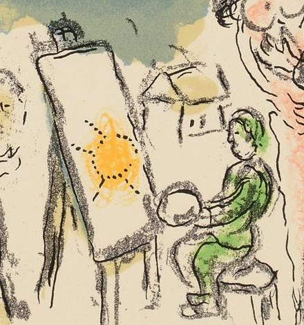 Original lithograph by Marc Chagall HUMANISME ACTIF Paris 1968