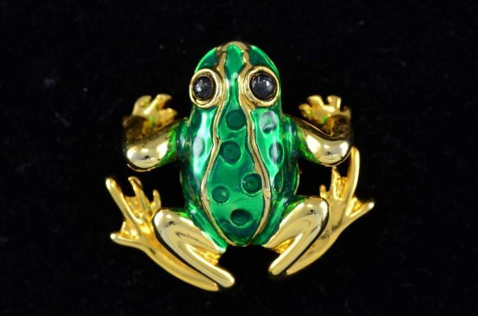 Vintage FROG Gold-tone Green Enamel Pin Brooch