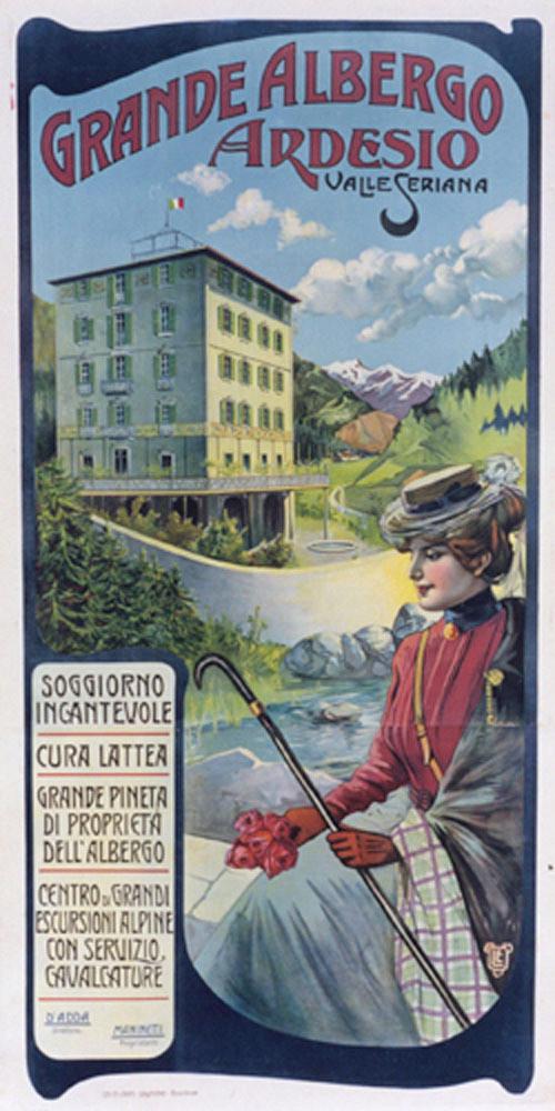 "Original Italian Vintage Oversize Alps Travel poster for ""Grande Albergo Ardesio"" 1920's"