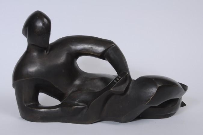 "Aaron Ashkenazi Bronze Sculpture ""The Cellist Player"" Signed"