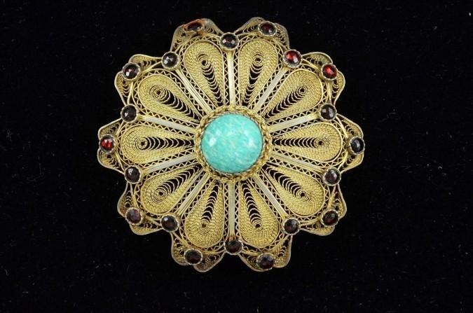 Bezalel Filigree Israeli 925 Sterling Silver and Eilat Stone Brooch Pin Pendant