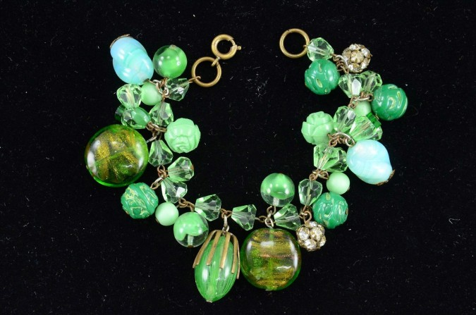 Vintage Charm Bracelet with Mix of Green Lampwork Glass Beads