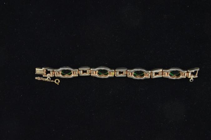 Vintage Costume Jewelry BARCLAY Gold-tone & Emerald-green Rhinestones Bracelet