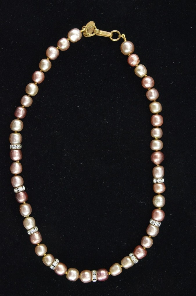 Vintage Glass Faux Pearls & Rhinestones Necklace Miriam Haskell 1950's Mad Men Style