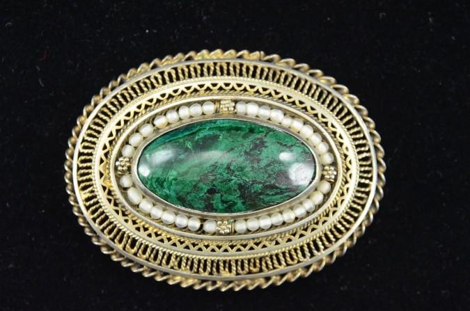 Vintage Large Oval Vintage Filigree MALACHITE Pin Brooch Pendant