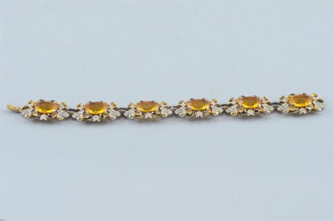 Vintage Gold-tone set with Amber Rhinestones Bracelet