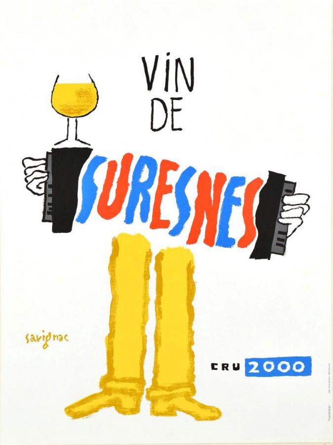 "French Advertising poster ""Vin de Suresnes"" by Savignac"