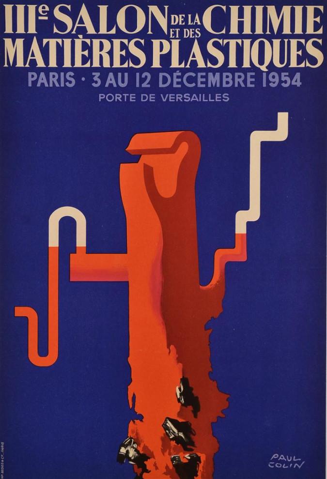 Vintage French Poster Salon de la Chimie & Plastiques Paris 1954 - Paul Colin