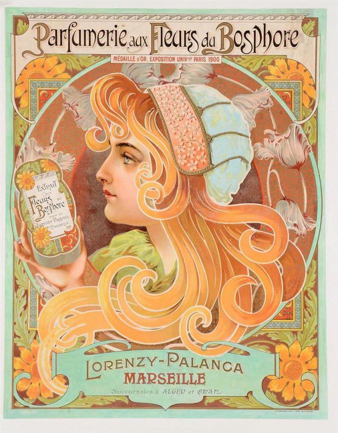 """Original Vintage French Poster """"Parfumerie aux Fleurs du Bosphore"""" ca. 1900"""