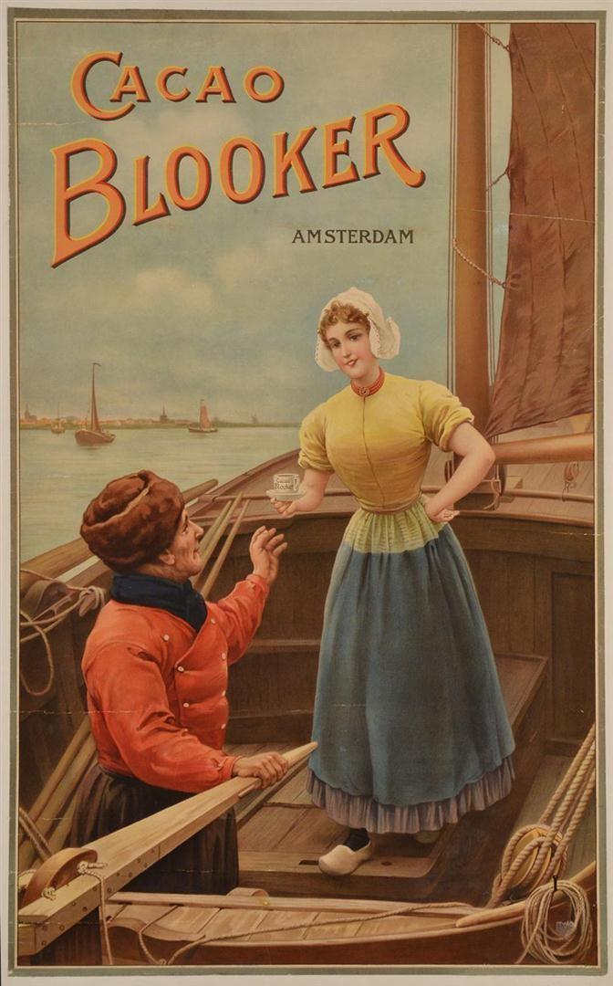 "Original Vintage Dutch Poster Advertising ""Blooker Cocoa"" ca. 1900"