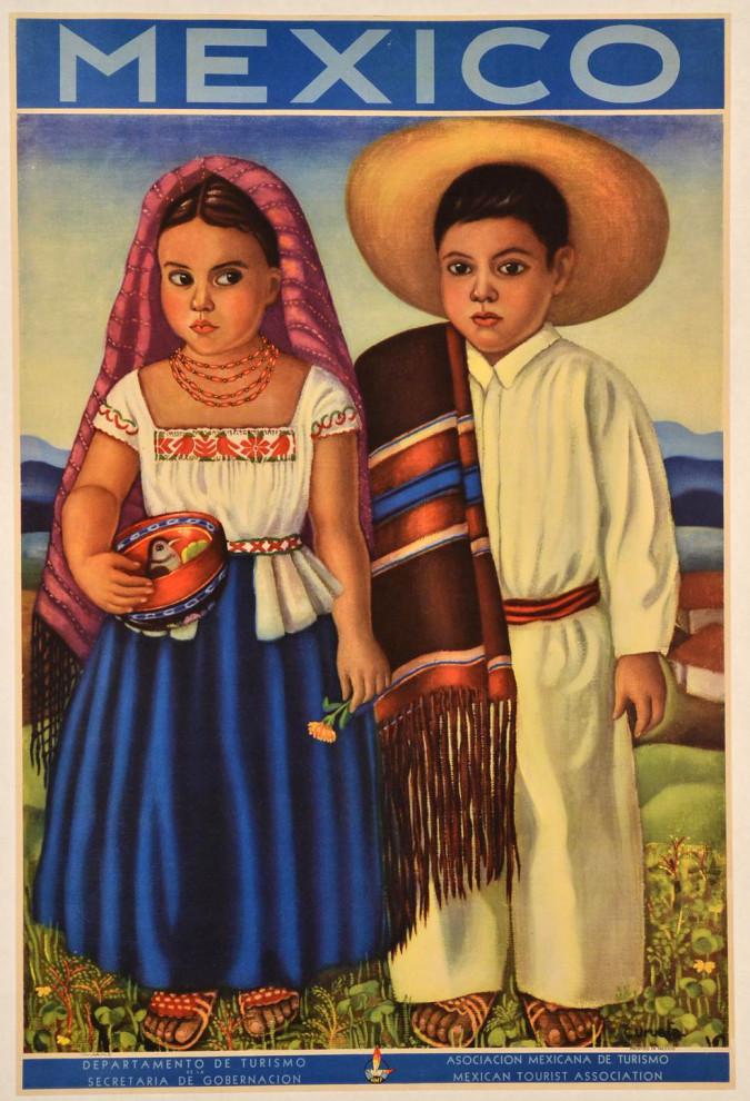 """Mexican Travel Poster """"Come and Visit Mexico"""""""