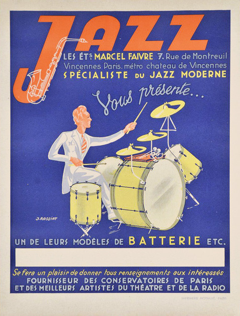 Original Vintage Music Poster Jazz by J. Rassiat circa 1940