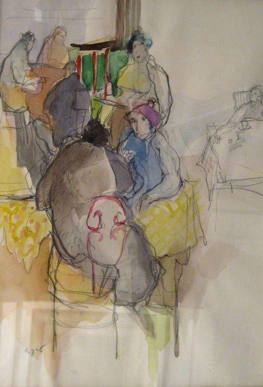 "Original Israeli Art Signed Watercolor ""Women at the Cafe"" by Tarkay 1989 Rare!!!"