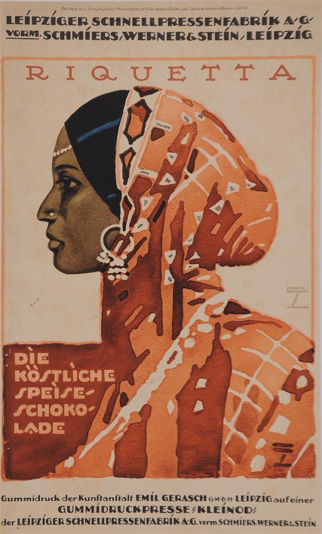 "German Poster ""RIQUETTA SCHOKOLADE"" by Ludwig Hohlwein"