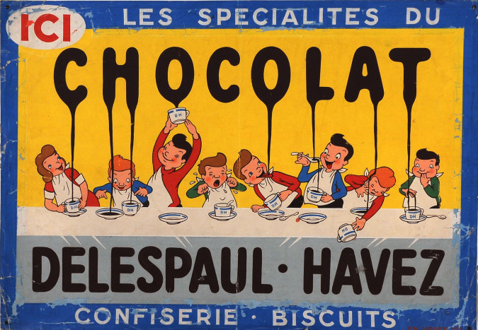 "Original Vintage French Maquette for ""Chocolat Delespaul-Havez"" ca. 1900D"