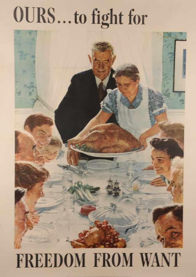 """Original Vintage Poster for """"Freedom from Want"""" by Norman Rockwell 1943"""