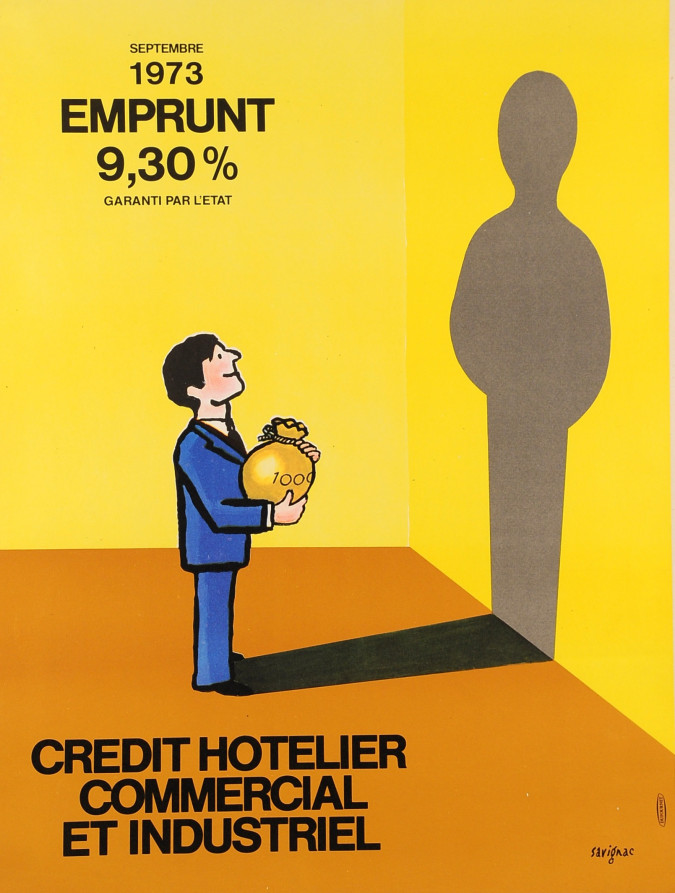 "Original Vintag French Poster ""Credit Hotelier"" by Savignac 1973"
