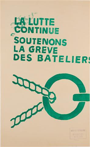 """Original Vintage French Poster """"La Lutte Continue"""" MAY 1968"""