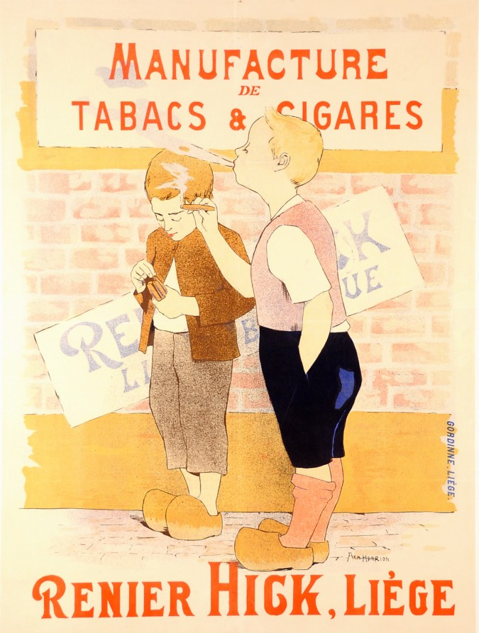 Original Vintage French Poster Renier Hick Tobacco by Armand Henrion ca. 1930
