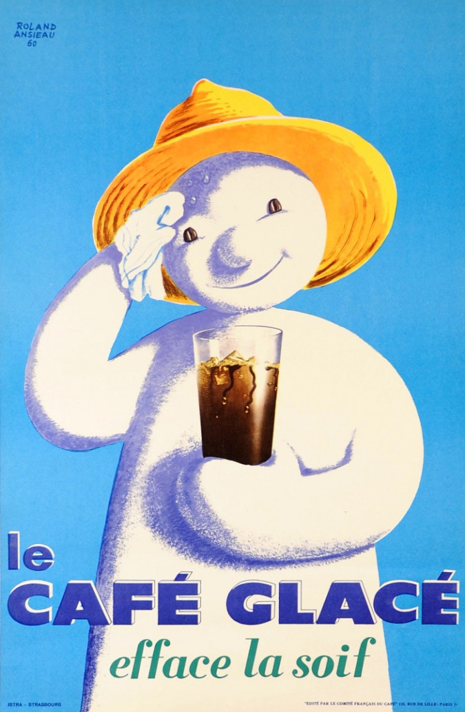 """Original Vintage French Poster """"Le Cafe Glace"""" by Roland Ansieau 1960"""