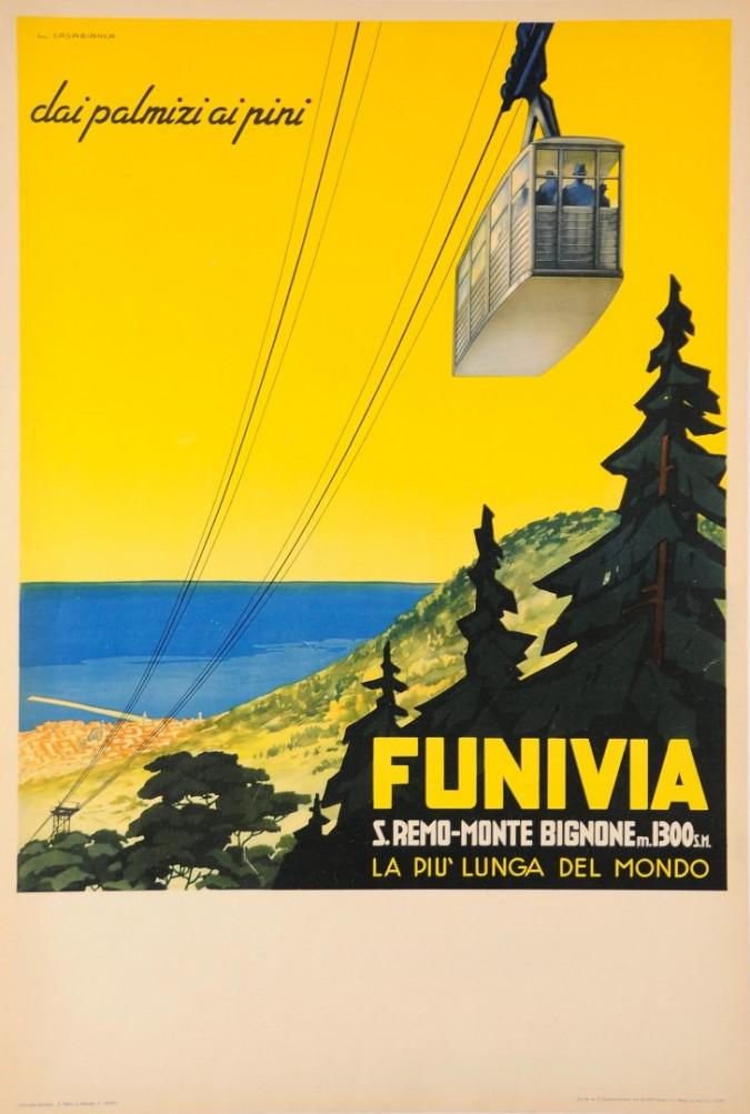 Original Vintage Italian Travel Poster Advertising a Ski resort Funiva