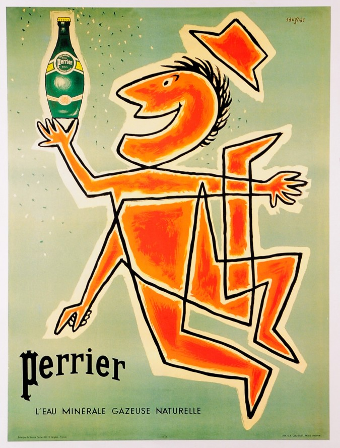 """Original Vintage French Poster """"Perrier"""" by Savignac LATER PRINTING 1980's"""