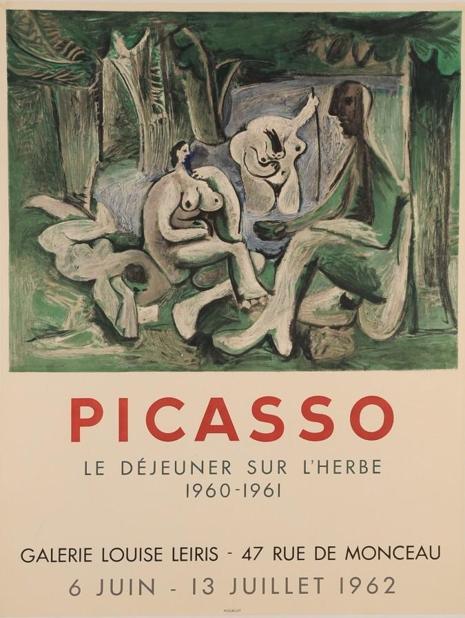 """Original Picasso Lithograph """"Leiris Le Dejeuner Sur L'Herbe"""" Galerie Louise"""