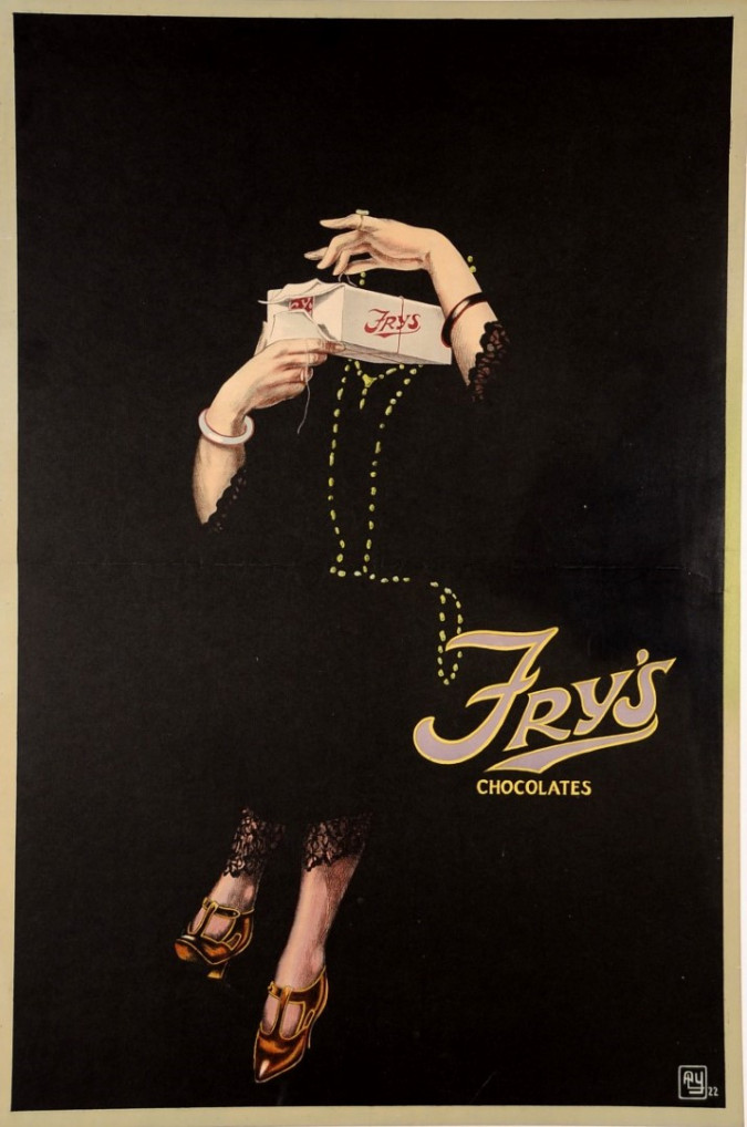 "Original Vintage British Art Deco Poster ""FRY'S Chocolates"" England 1922"