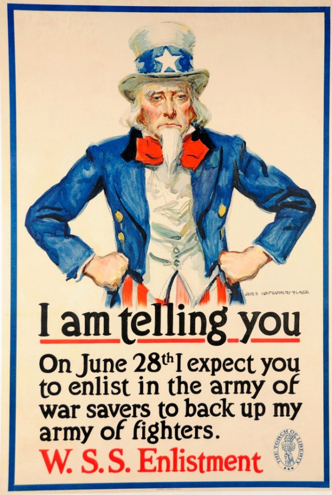"""Original Vintage American Poster """"I am Telling You"""" Uncle Sam by J.M. Flagg 1918"""
