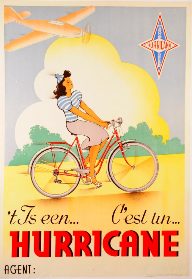 "Original Vintage Belgian Poster Advertising Bicycles ""Hurricane"" ca. 1950"