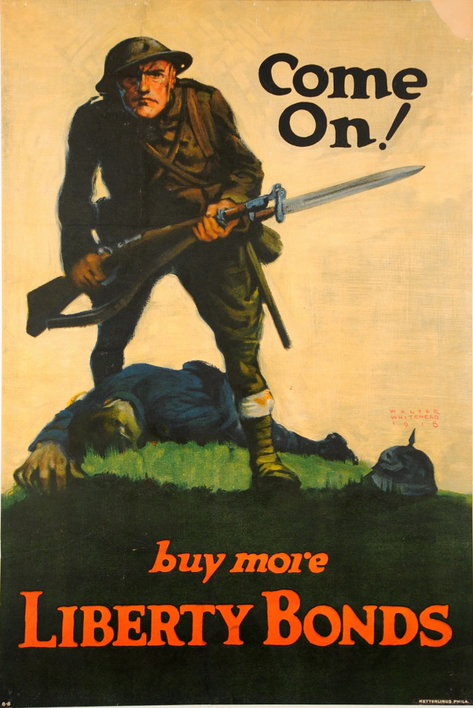 """WWI """"Liberty Bonds"""" Poster """"Doughboy"""" by Walter Whitehead 1918"""