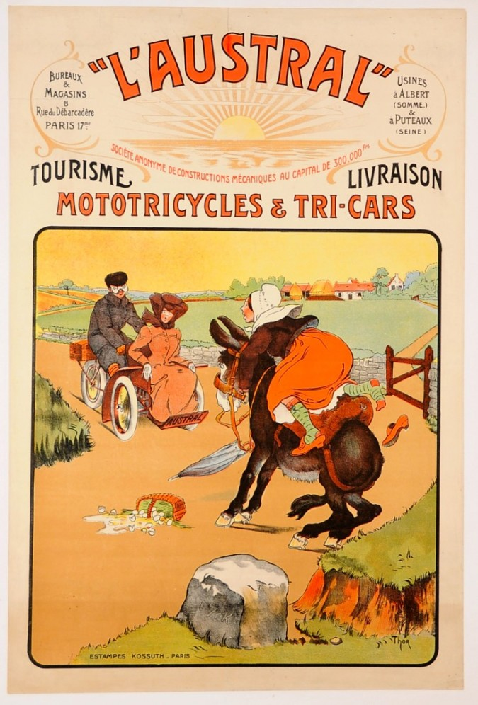 """Original Vintage French Poster """"LAUSTRAL"""" Motorcycels by W. Thor ca. 1900"""