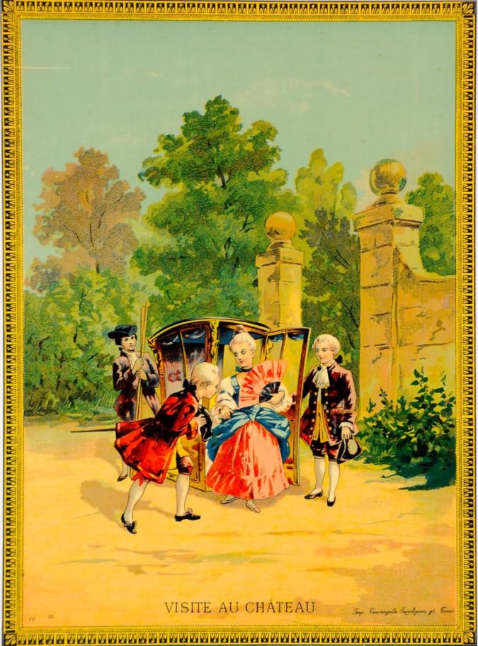 """Original Vintage Children Story Poster """"Visite Au Chateau"""" ca. 1890"""