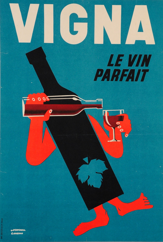 Original Vintage French Wine Poster VIGNA Le Vin Parfait by G. Jourdan 1940