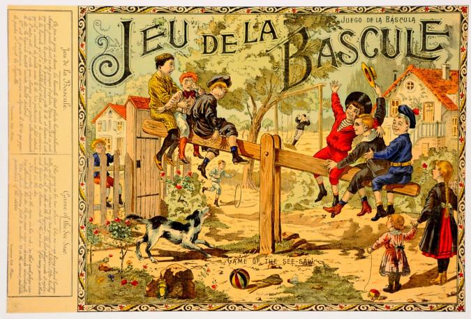 """Original Vintage Children Game French Poster """"Jeu de la Bascule"""""""