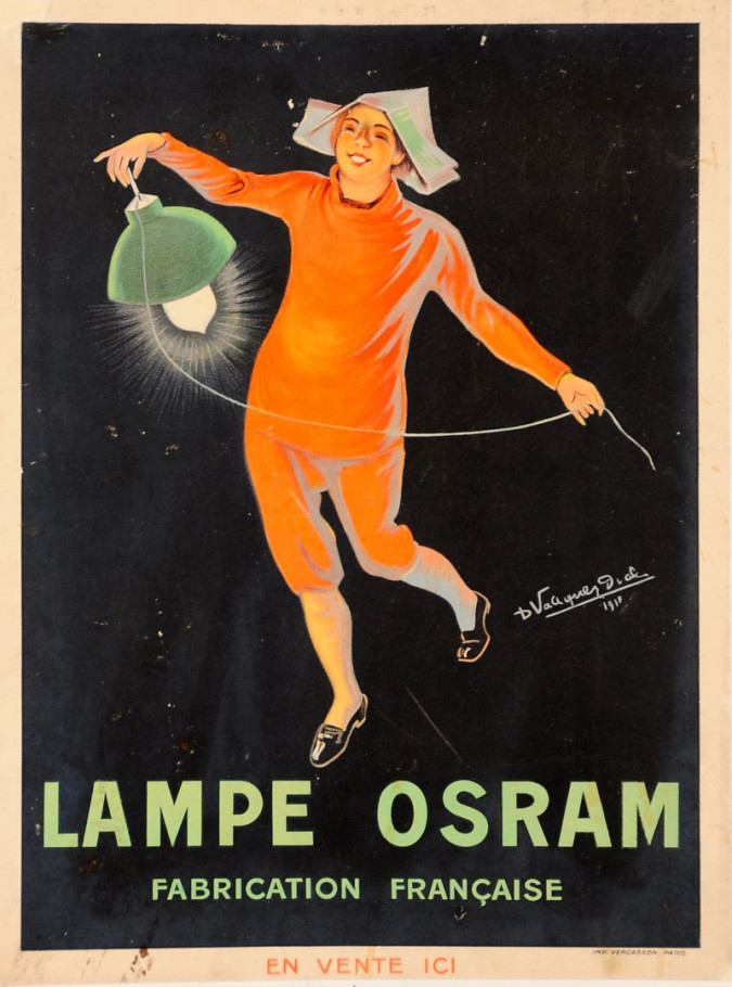"French Advertising Poster ""Osram Light Bulb"" Signed"