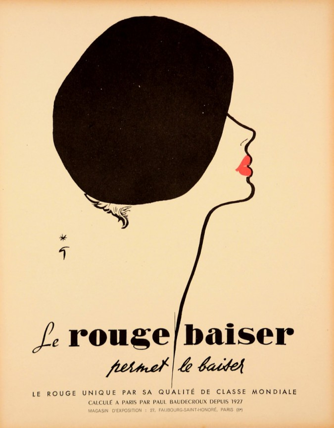 """Original Vintage French Poster for """"Rouge Baiser"""" by Gruau 1980's"""
