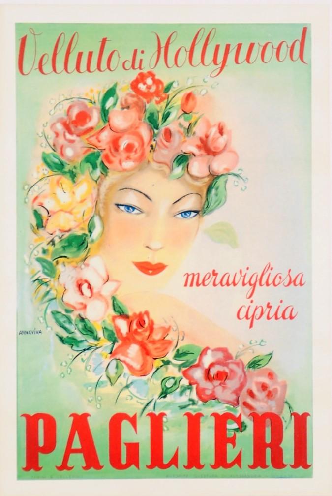 "Original Vintage Italian Poster for Brillantina ""Paglieri Velluto di Hollyhood"" by Annaviva 1952"