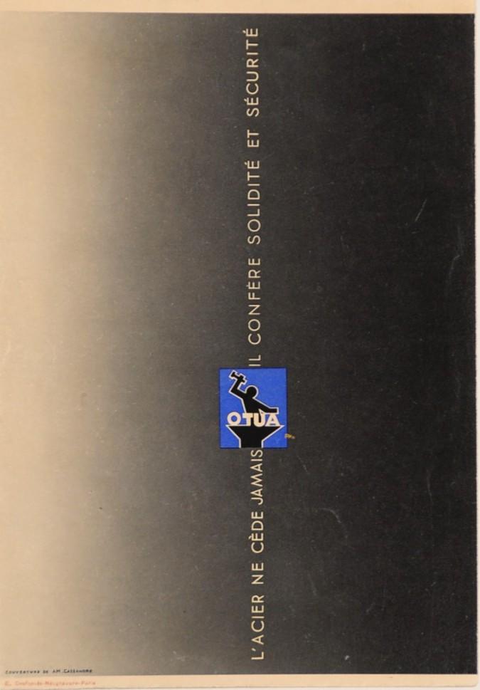 "Original Vintage Small French Poster ""OTUA"" L'Acier by Cassandre ca. 1940"