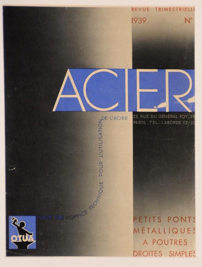 "Original Vintage Small French Poster ""OTUA"" Acier Typeface by Cassandre 1939"