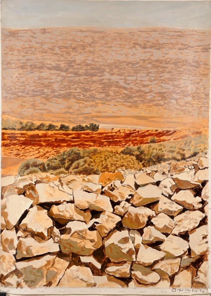 "Beautiful Acrylic on Canvas Landscape Painting ""Jerusalem 3000"" by Azene 1992"