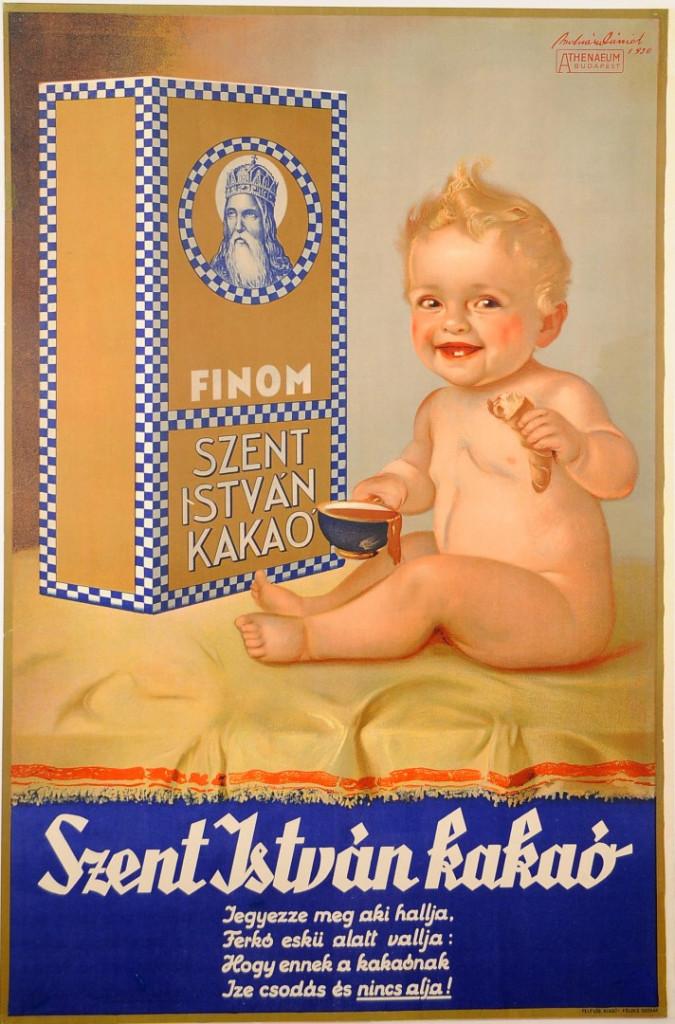 """Hungarian Chocolate Poster """"FINOM Zent Istvan Kakao"""""""