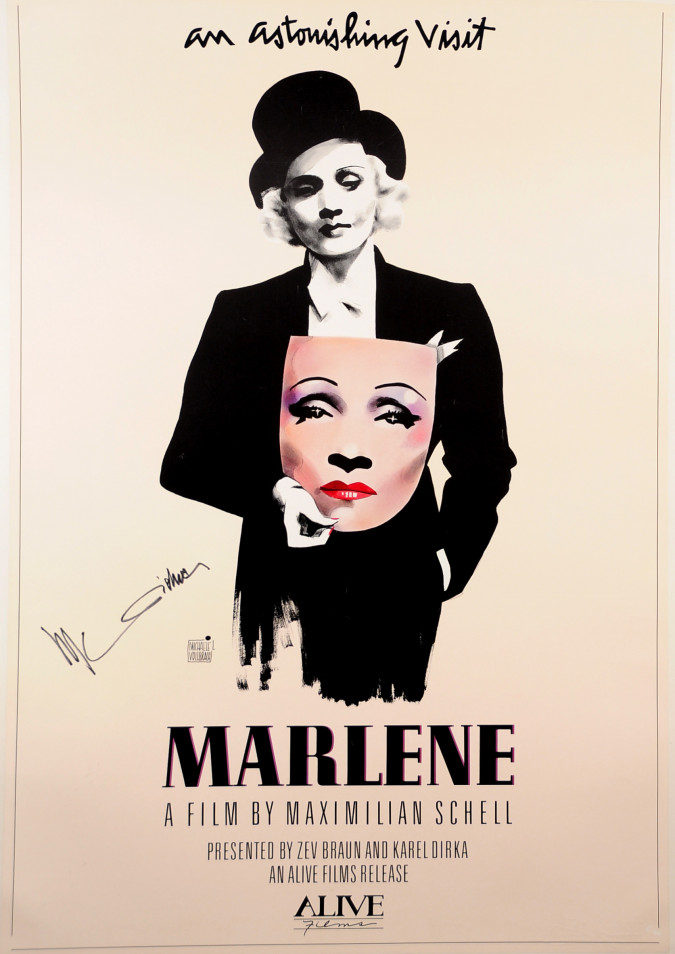 """Vintage Poster """"Marlene"""" with Authentic Marlene Dietrich Signature"""