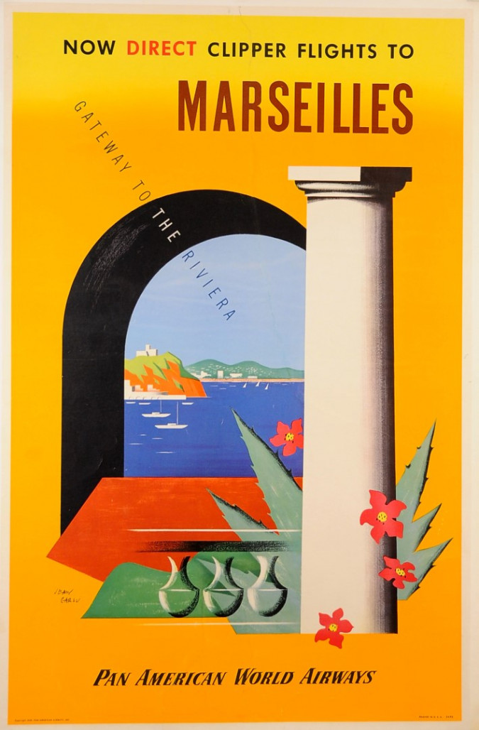 """Original Vintage French Travel Poster for """"Pan American - Marseilles"""" by Jean Carlu ca. 1920"""