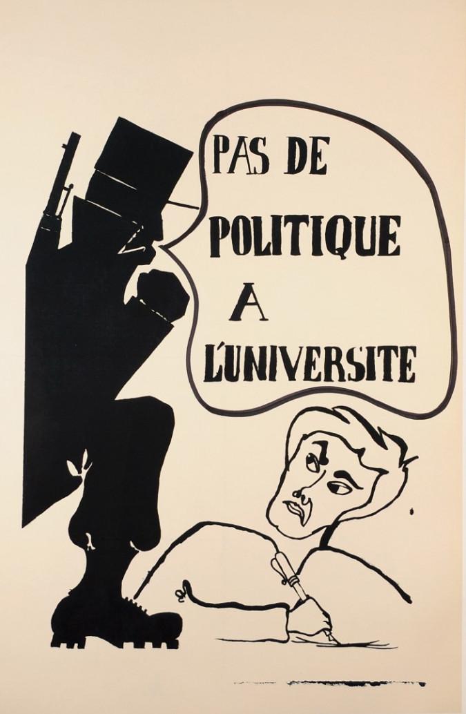 """French Student Revolution Poster """"Pas De Politique"""""""